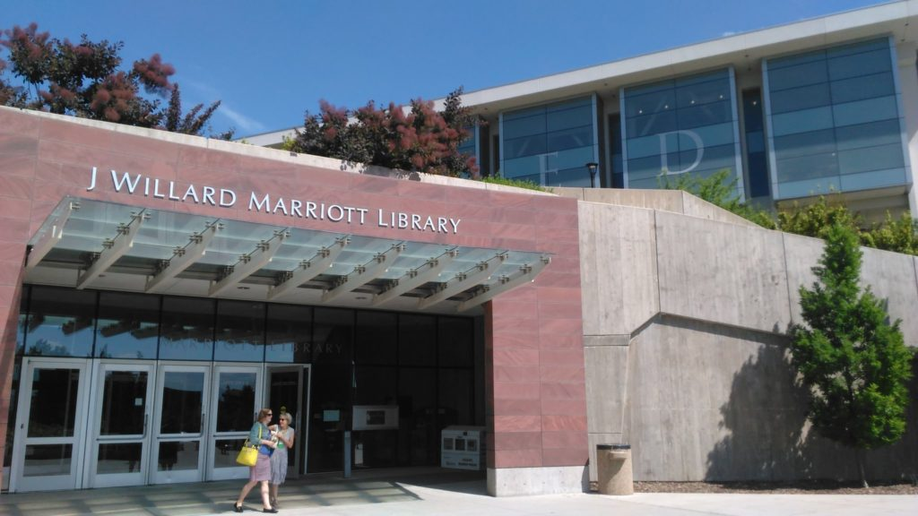 the exterior of the J Willard Marriott Library