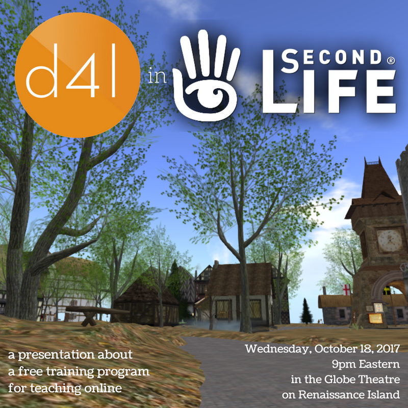 a landscape view of scenery in the virtual world of Second Life, with logos and text overlaid