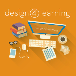 a graphic of a computer, books, ipod, notepad, glasses, and coffee against a bright orange background with the design 4 learning logo.