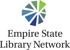 logo in 9 shades of blue and green, with 9 different shape wedges fitting together and Empire State Library Network written below