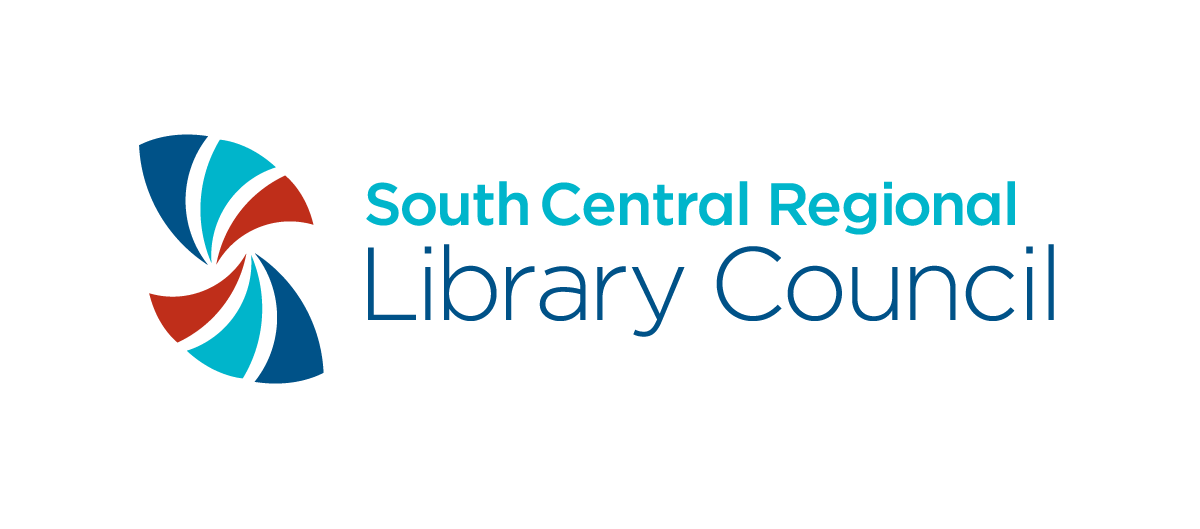 logo for the South Central Regional Library Council with accents of red and blues
