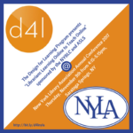 d4l and NYLA logos against orange diagonal color block background
