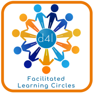 "the logo for design for learning at the center of a circle of stick figures of different colors holding hands, with the text ""Facilitated Learning Circles"" below"